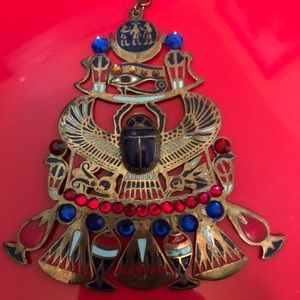 Jewelry - Vintage Egyptian revival scarab necklace Large